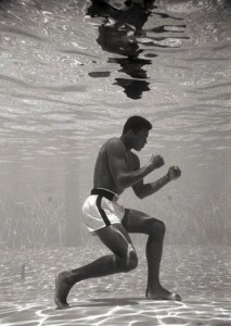 Muhammad Ali training underwater. Image from boxinguncut.files.wordpress.com