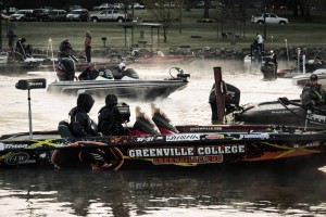 Getting the boat ready. Greenville College Bass Fishing.
