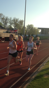 Brooke Goodyear running in the 3000 meter race. Image by Austin Brinkman