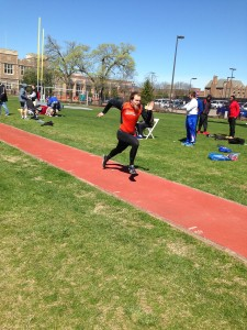 Mitch Olsen running in the runway for one of his long jump attempts. Image from Austin Brinkman