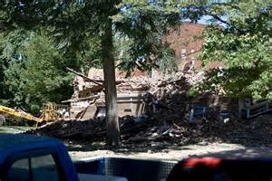 Hogue Hall being demolished