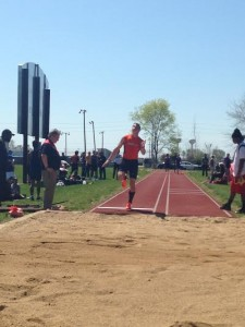 David Martian about to leap into the long jump pit. Image from Austin Brinkman