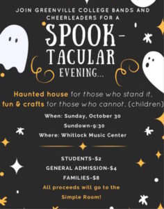 Flier for Spooktacular evening with GC bands and Cheerleading