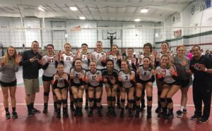 team celebrating 7 straight conference titles Media by Greenville College Womens Volleyball facebook page