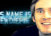 "Close up of Pewdiepie with blue words saying, ""His name is Pewdiepie."""