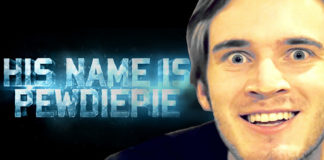 """Close up of Pewdiepie with blue words saying, """"His name is Pewdiepie."""""""