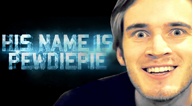 Close up of Pewdiepie with blue words saying,