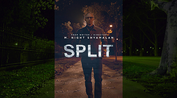James McAvoy walking on a dimly lit sidewalk at night. The movie title,