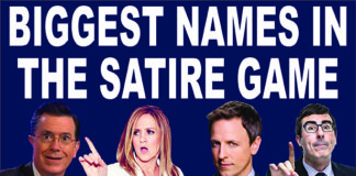 Stephen Colbert, Samantha Bee, Seth Meyers, and John Oliver who are considered some of the best in satire.