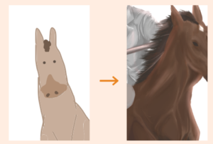 Horse progress picture by MomokaM