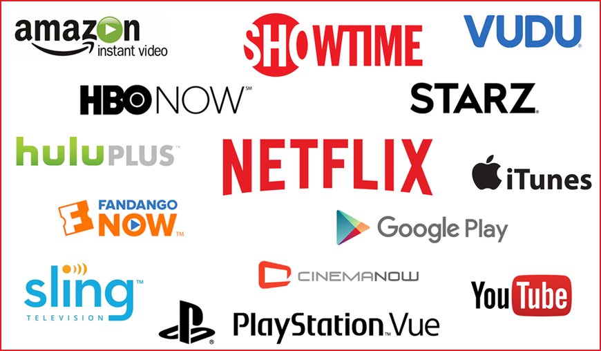 Several streaming services all piled up.