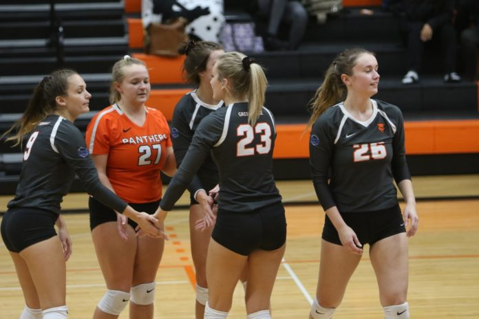 Senior Maci Bonacorsi high-fiving her teammates after a kill