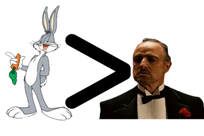Bugs Bunny next to Vito Corleone from The Godfather and a greater then image pointed towards the rabbit.