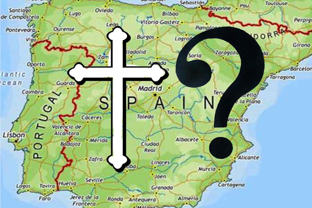 A map of spain with a cross and a question mark over it