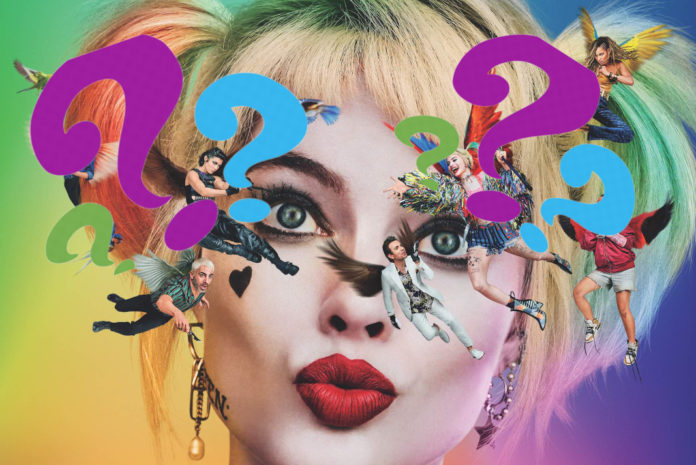 The Birds of Prey poster with multiple question marks.