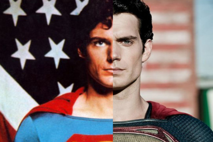 Reeves and Cavill superman split and combined