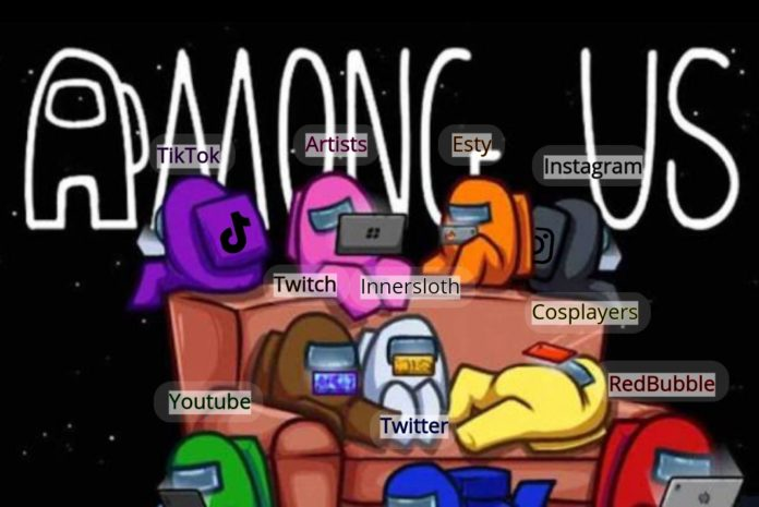 Image is Among Us characters gathered around and on a couch playing on all sorts of electronic devices. Above each head is the name of a applications, the creators, and users who are engorged in this game as if they were playing together. Starting from the left to right it goes, Tiktok, Artists, Etsy, Instagram, Twitch, Innersloth, Cosplayers, Youtube, Twitter, and RedBubble.