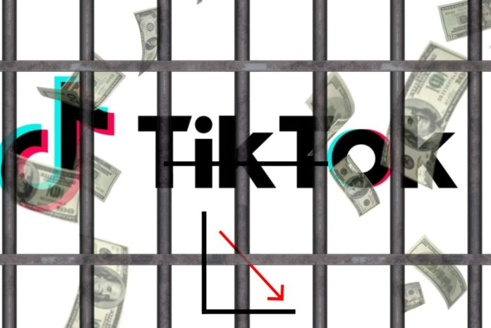 Tiktok symbol behind bars wiht falling money behind bars.