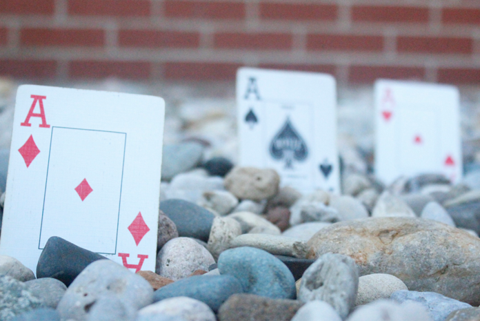 Focused image of Ace's from a deck of cards.