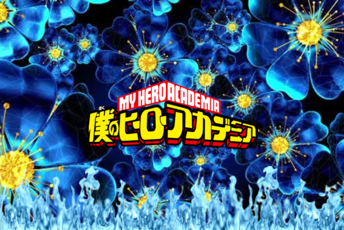 a background of blue flowers with the my hero academia logo in the middle and blue flames coming from the bottom