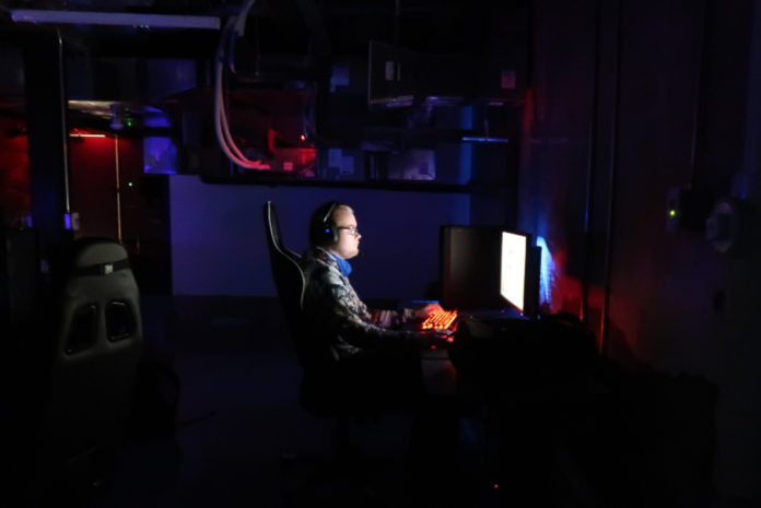 E-Sports player during practice at the new studio. Media by Wyatt Moser
